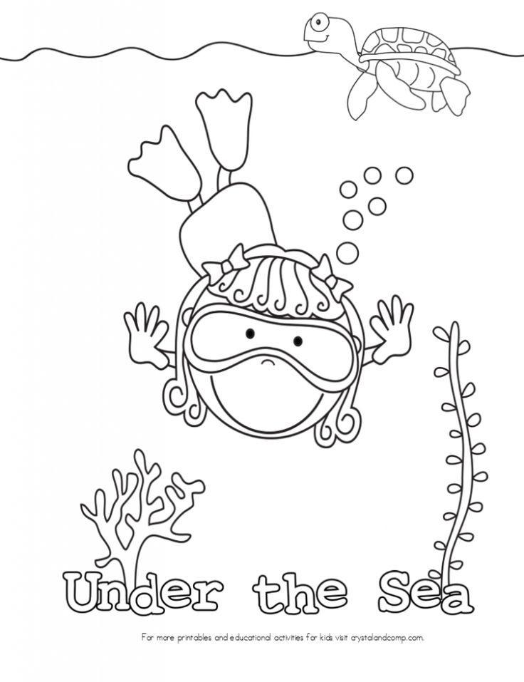 kid color pages under the sea: swimming girl // páginas para colorear, temática bajo el mar: buceadora