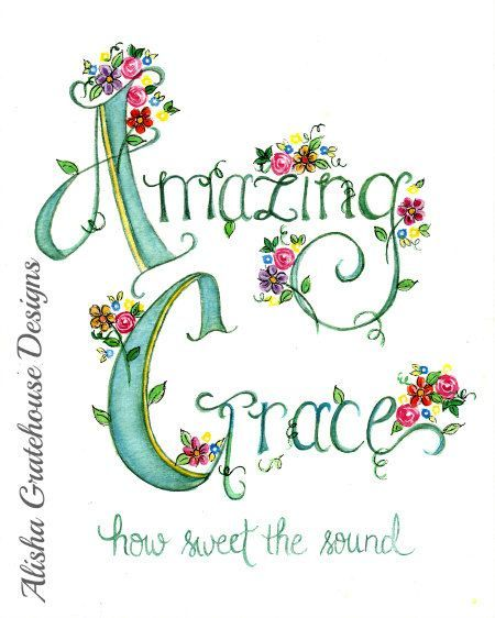Hymn Art. Christian Art Print - Amazing Grace - Watercolor Print - (8x10) Hand Lettered:
