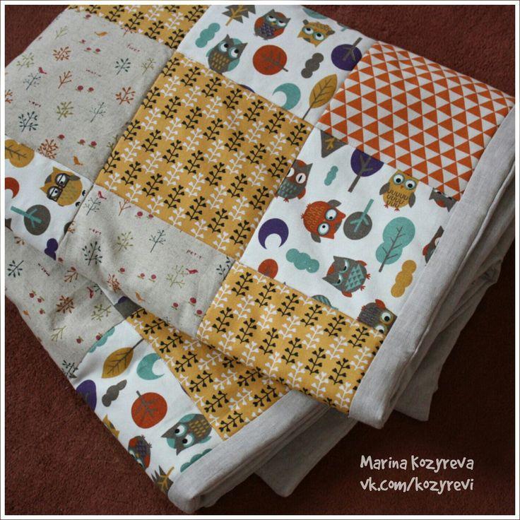 Льняное лоскутное одеяло детское 3900 руб