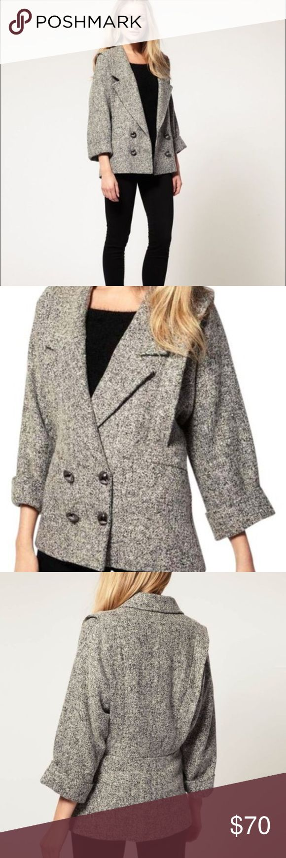 French Connection Kezia Coating Batwing Jacket Stunning French Connection Grey Kezia Coating Batwing Double Breasted Jacket in size 2. New with tags attached, includes extra button. French Connection Jackets & Coats