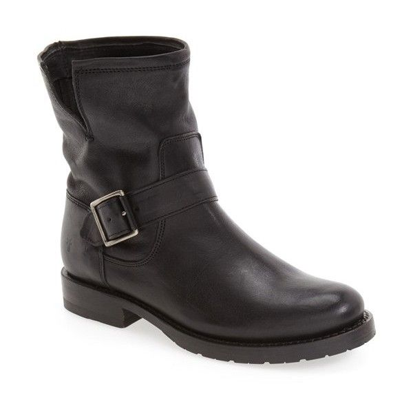 Women's Frye 'Natalie' Engineer Boot ($348) ❤ liked on Polyvore featuring shoes, boots, black, leather engineer boots, black leather shoes, black moto boots, motorcycle boots and black motorcycle boots
