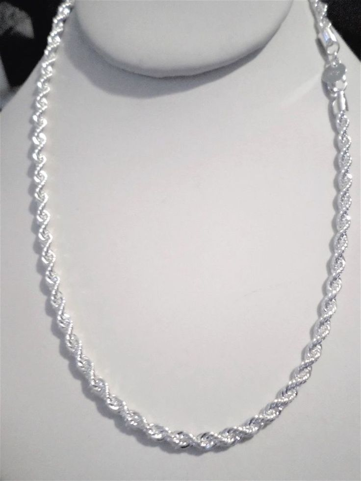 Womens Mens Classy 24 Inch 925 Sterling Silver 4mm Twisted Rope Chain Necklace Unbranded Chain Gold Chains For Men Silver Necklace Mens Silver Necklace