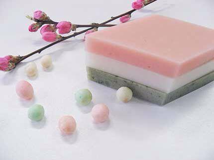 菱餅 (hishimochi) is a special kind of mochi (rice cake) that is colored pink, white, and green.