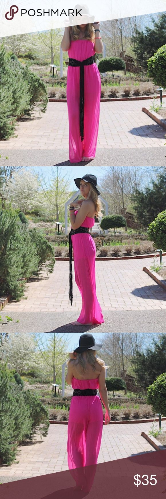 Fuchsia Jumpsuit •sleeveless (tube top) •wide leg  •sheer legs (exaggerated in photos because of the sunlight) •black accessories not included •gold waist-chain belt included •super comfortable  •available in S, M, and L •all brand new from warehouse Pants Jumpsuits & Rompers