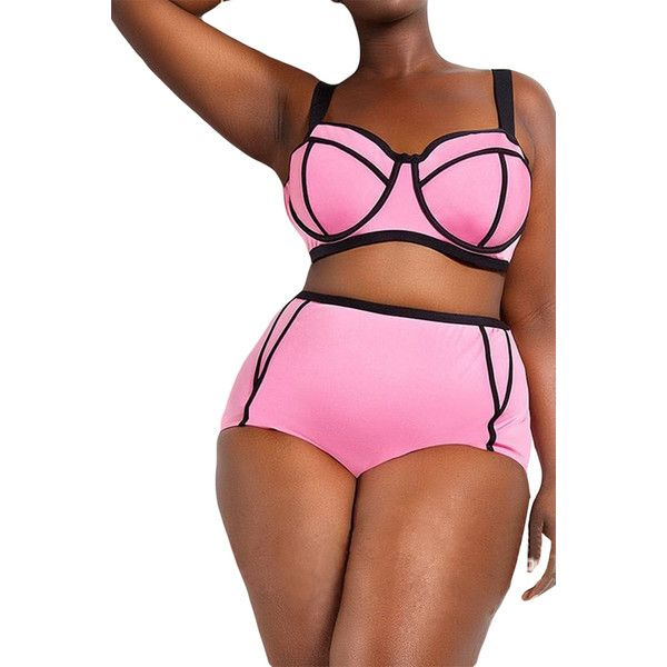 Plus Size Pink Sexy Swimwear Top&High Waist Swimwear Bottom (29 CAD) ❤ liked o…