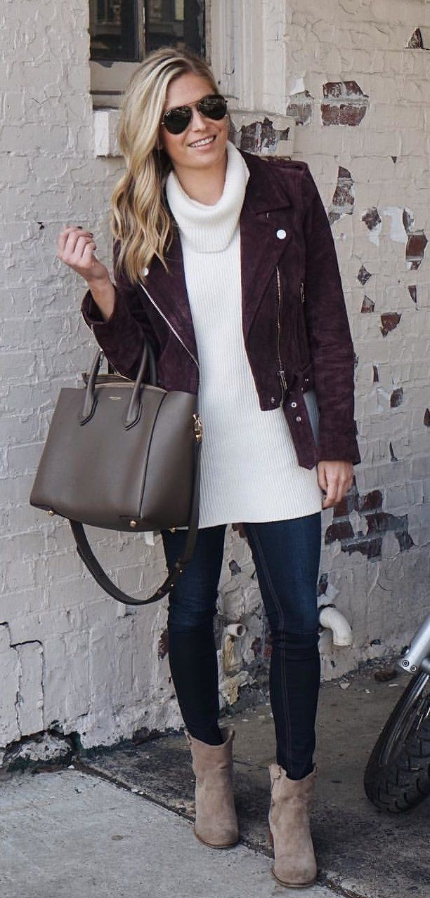 #fall #outfits women's white turtle-neck corduroy shirt and brown zip-up jacket. Click To Shop This Look.
