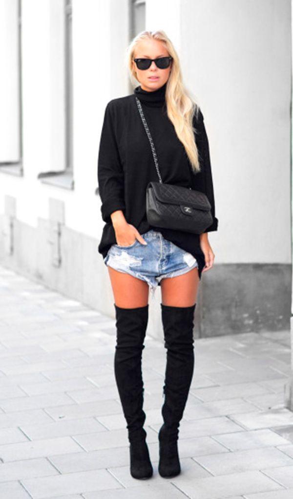 look short jeans e trico preto