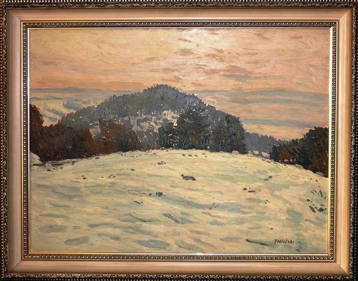 Panuška Jaroslav ( 1872 - 1958 ) - Zimní krajina - olej,překližka - 77x61