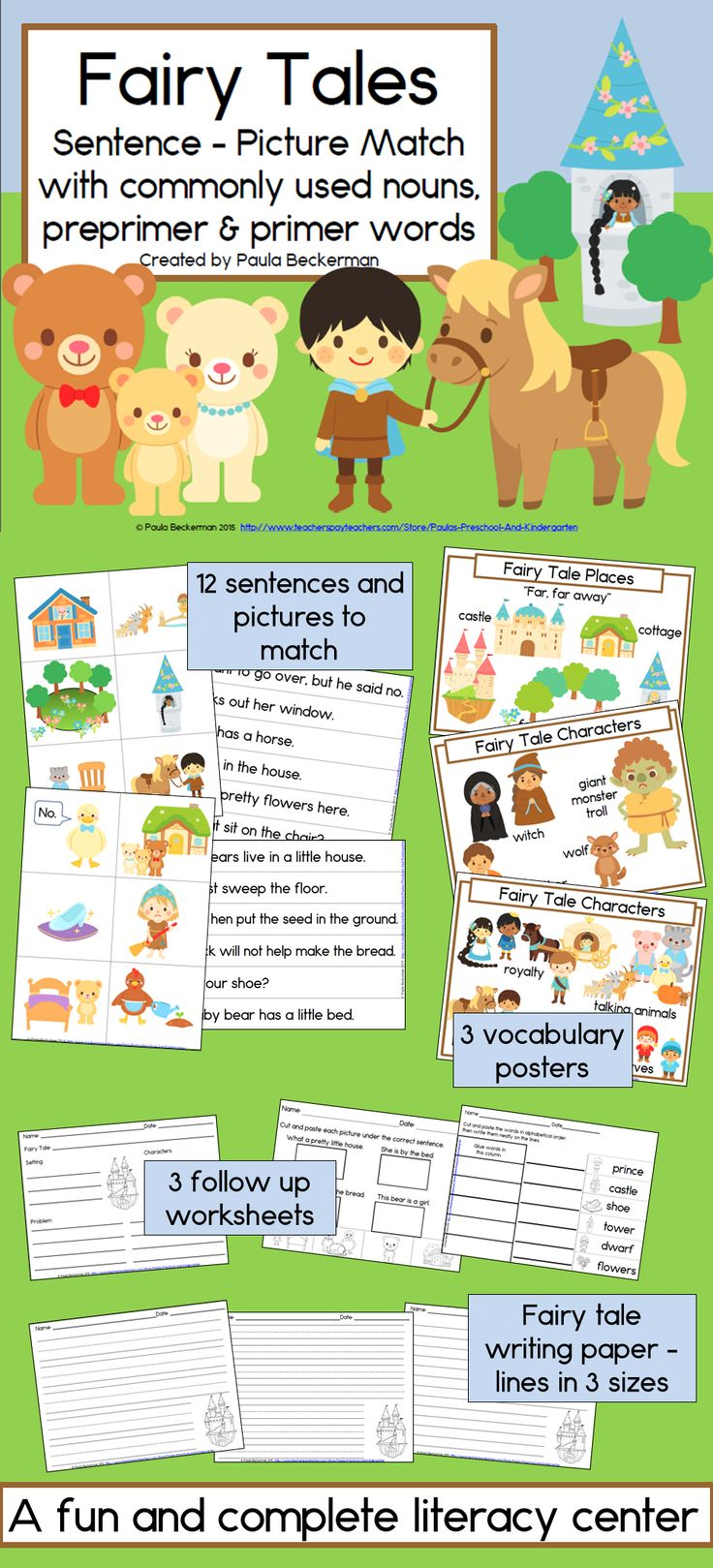 95 best fairy tales images on pinterest teaching ideas fairy fairy tales sentence picture match reading center kindergarten and first grade robcynllc Image collections