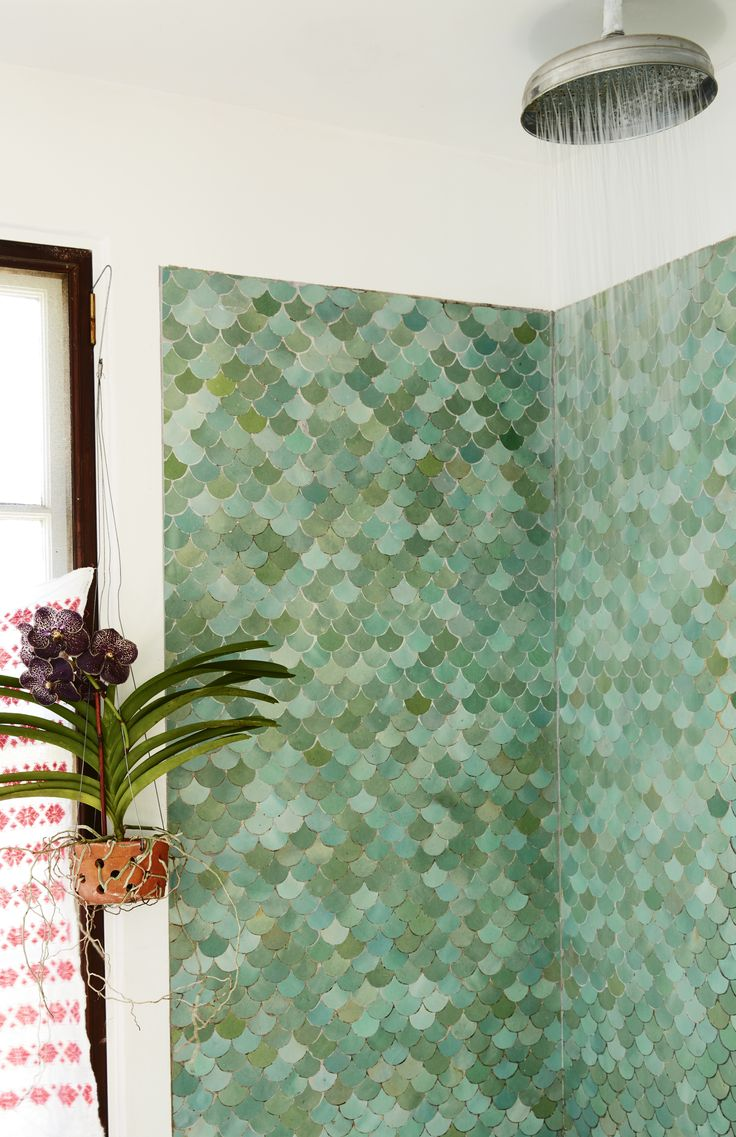 Moroccan fish scale tiles in Livia Cetti and Danny Marrone's remodeled bathroom, Kate Mathis photo | Remodelista