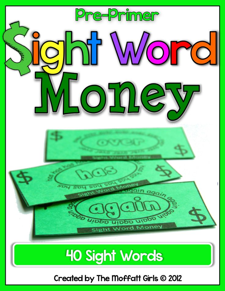 Sight Word Money!  Just print on green card stock!   Kids can earn sight word bucks for their sight word wallets as they lean new sight words!