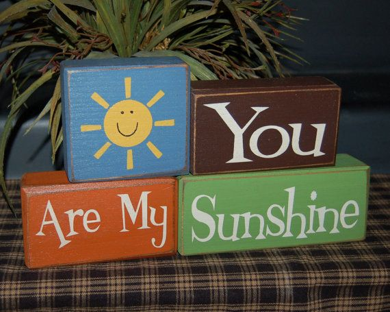 NEW You Are My Sunshine My Only SUNSHINE Nursery Kids Children Wood Sign Shelf Blocks Primitive Country Rustic Home Bedroom Decor Gift. $26.95, via Etsy.