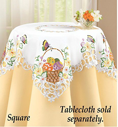 Easter Basket Colorful Eggs Embroidered Table Linen Square
