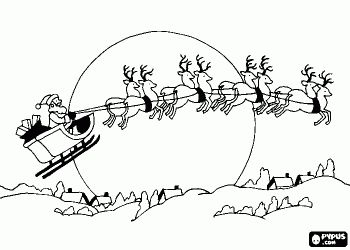 santa claus in his magic sleigh pulled by flying reindeer on christmas night coloring page