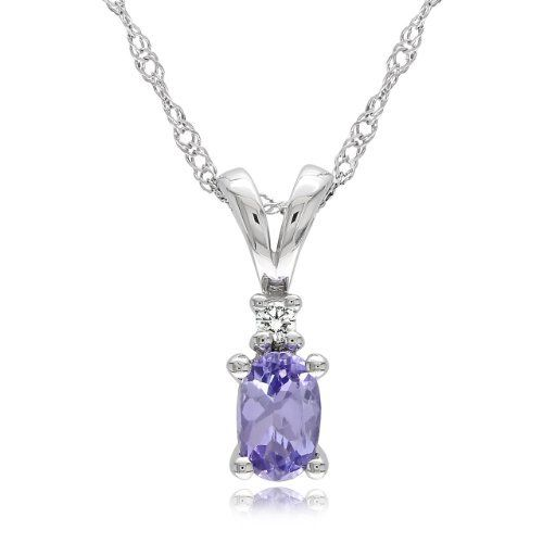 "10k White Gold Tanzanite and Diamond Pendant Necklace (0.03 cttw, GHI Color, I2-I3 Clarity), 17"" Amazon Curated Collection. $139.00. Lovely white gold, tanzanite and diamond pendant. Made in china. Save 67% Off!"