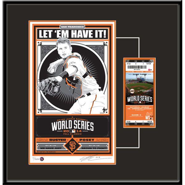 Buster Posey San Francisco Giants 2014 World Series Champions Player Propaganda Serigraph Ticket Frame - $119.99