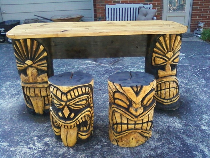 Tiki Bar with Stools  by Brandy McElroy  www.chainsawbelle.webs.com