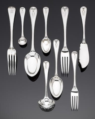 A Victorian silver Hanovarian Thread and Drop pattern flatware service by John Hunt & Robert Roskell, which on some appears to be overstiking another mark, London 1872