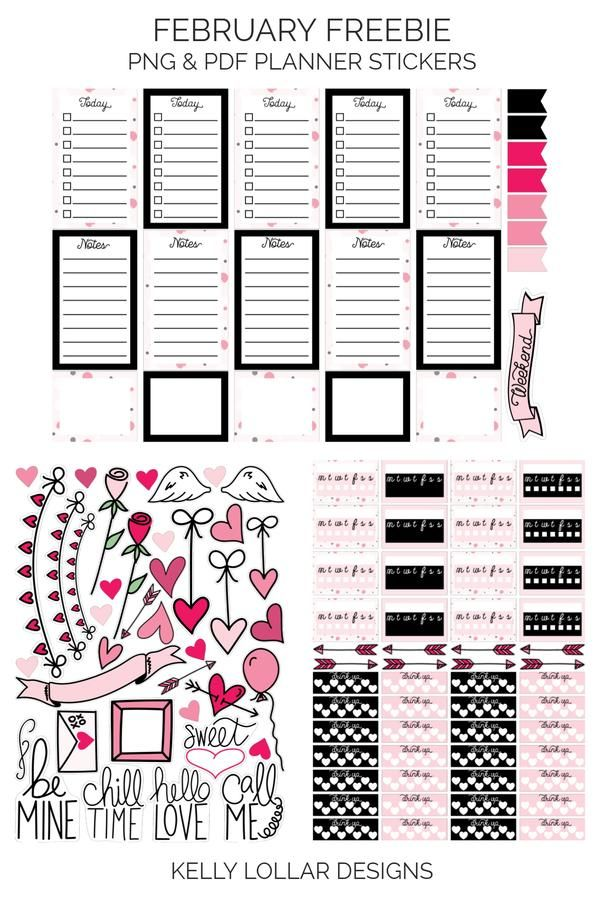 One month down already! Where the heck did that go? It's good though, just means it's time for a new set of planner stickers!  To prepare for Valentine's Day, this month's theme is shades of pinks with black and white and fun polka dot...