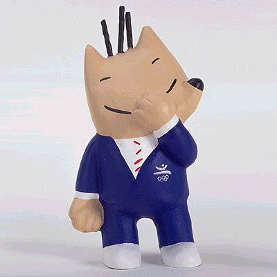 Cobi 1992 Barcelona Summer Olympics mascot   For some, it can be difficult to figure out what exactly the 1992 Barcelona Summer Olympics mascot is. But the trick is to not overanalyze because Cobi is simply a dog in a suit.