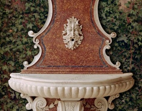 Wall fountain for garden in white carrara marble and spain broccatello