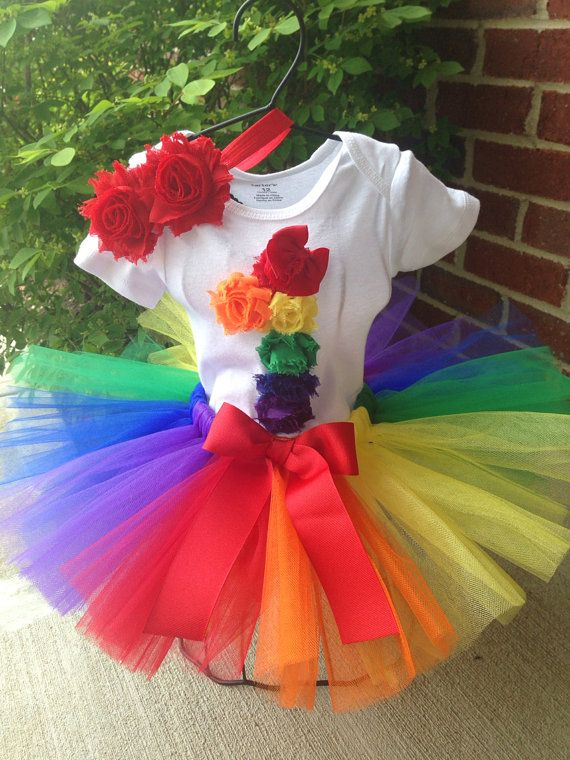 First Birthday Tutu Outfit Rainbow Rosette by SweetCarolinesBtq
