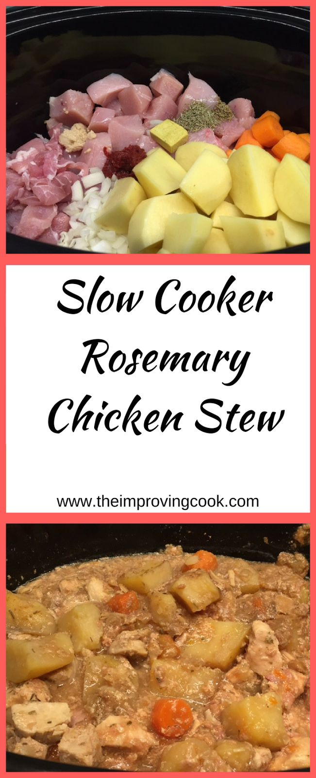 The change in temperature had me craving something warm and comforting, so I made a nice big batch of chicken stew in the slow cooker last week. Chicken stew is full of flavour just cooking in its own stock, but I wanted to boost that even more by adding rosemary.