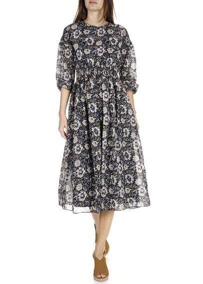 Robe mi-longue en voile de coton à imprimé floral  Noir by LAURENCE BRAS