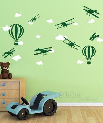 Σύννεφα & Αεροπλάνα - Αυτοκόλλητα τοίχου για παιδικό δωμάτιο