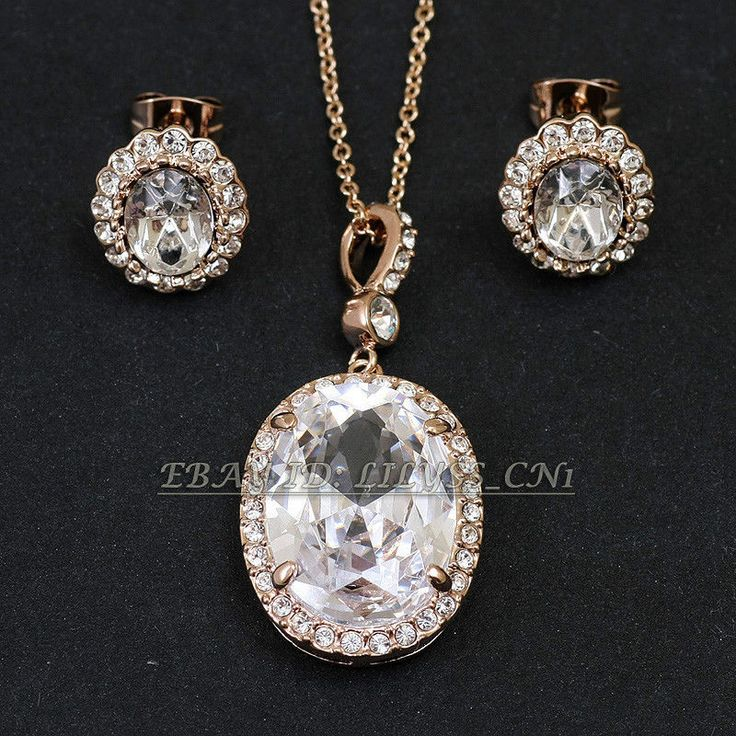 A1-S017 Simulated Gemstone Necklace Earring Jewelry Set 18KGP Swarovski Crystal #ItalinaRigant