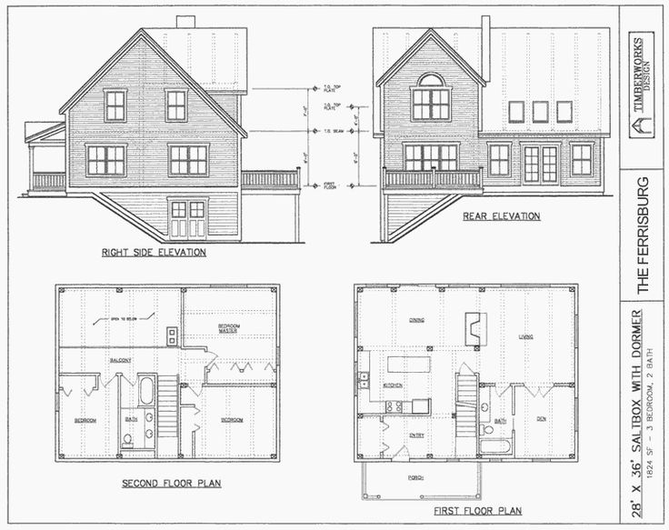 Post beam house plans and timber frame drawing for Saltbox style house plans