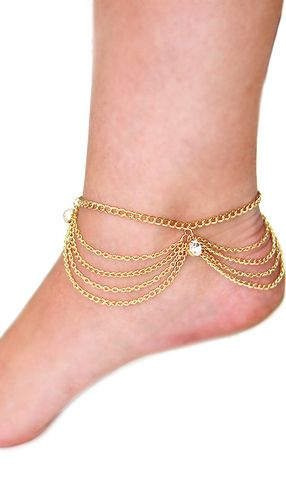 'PARIS' LAYERED GOLD CRYSTAL CHAIN ANKLET