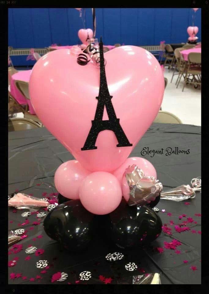 Paris balloon center piece