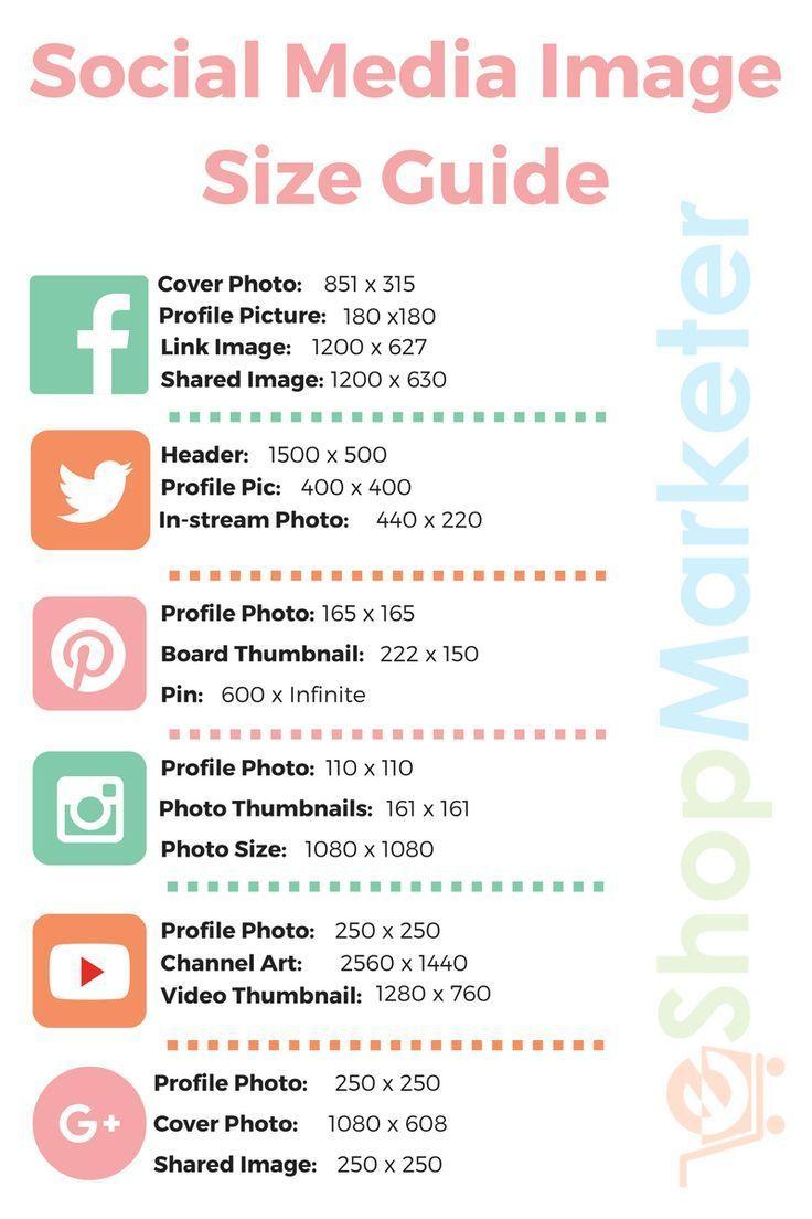 Social Media Image Size Guide | Etsy | Facebook image sizes