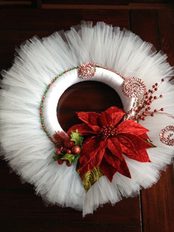 Christmas Wreath Tulle by APomPomAffair on Etsy