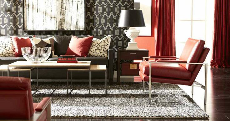 Red And Black Ethan Allen Living Room Ideas. Modern Living Rooms.