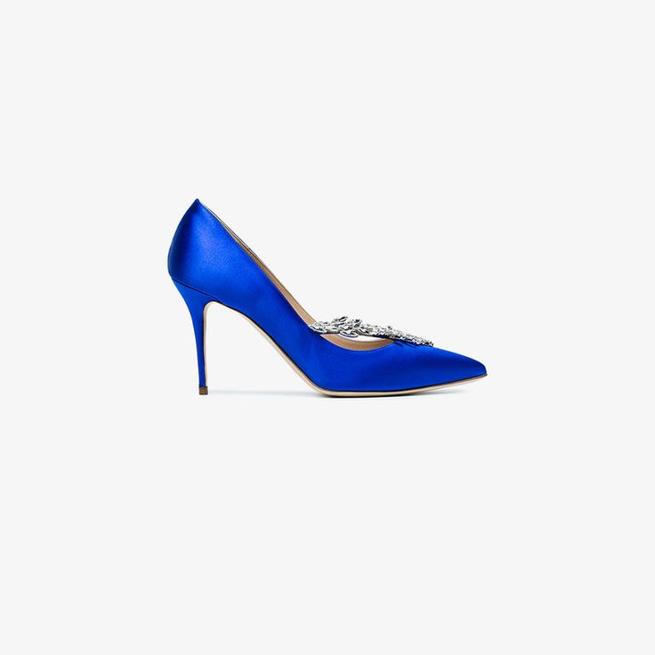 Manolo Blahnik infuses the classic court shoe silhouette with his signature glamour, presenting these stunning 'Nadira' pumps for SS18. Fashioned in Italy from lustrous royal blue silk-satin, the slip-on pair boasts a high 90mm stiletto heel, an elegant pointed toe and a characteristically low vamp that flatters the foot. The bold evening shoes are finished off with an asymmetric panel punctuated with Manolo Blahnik's iconic white Swarovski crystal embellishments.