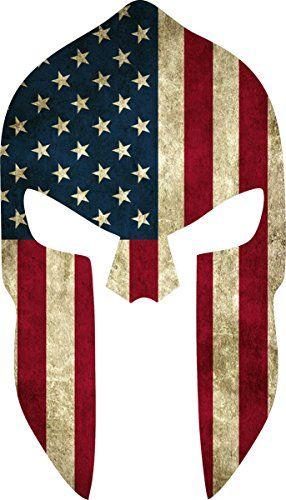 """Grunge Style US Flag Spartan Helmet Reflective Decal (4""""x2.25"""") Yeti Signs http://www.amazon.com/dp/B015UWO7GU/ref=cm_sw_r_pi_dp_JXi4wb05A3MQV"""