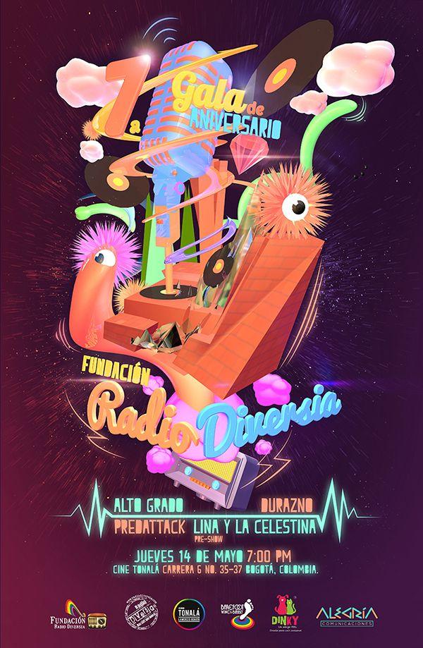 Afiche / Poster 7ma Gala de Aniversario de Rdio Diversia. Trabajo realizado para la Fundación Radio Diversia. Bogotá, 2015. Trabajo realizado en conjunto con Ivan Zambrano. #poster #typography #design #graphicdesign #ilustration #3D #LGBT