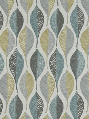 Aqua Grey Abstract Upholstery Fabric - Cotton Print Curtain Material - Yellow Grey - Furniture Material - Geometric Fabric by the Yard