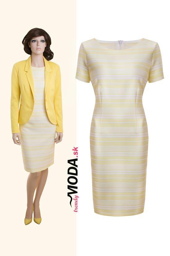 Elegantné trendy dámske sako a pruhované šaty v jemných pastelových odtieňoch žltej-trendymoda.sk