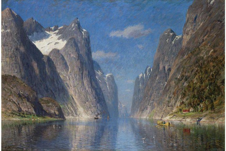 ADELSTEEN NORMANN, 1848-1918 NORWEGIAN SPRING ON THE FJORD: