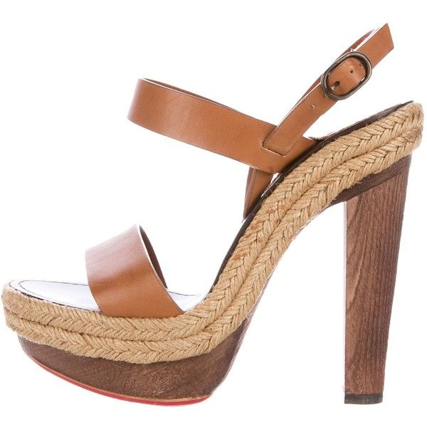 Pre-owned Christian Louboutin Leather Espadrille Sandals ($295) ❤ liked on Polyvore featuring shoes, sandals, brown, leather buckle sandals, wooden heel sandals, brown espadrilles, brown leather shoes and christian louboutin shoes