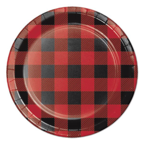 Buffalo Plaid, dessert plates, 8-count, $1.95, Birthday Direct