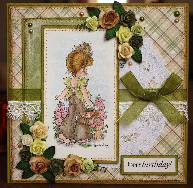 Earthy colours remind me of sunshine on this card. Sweet girl is Sarah Kay stamp.
