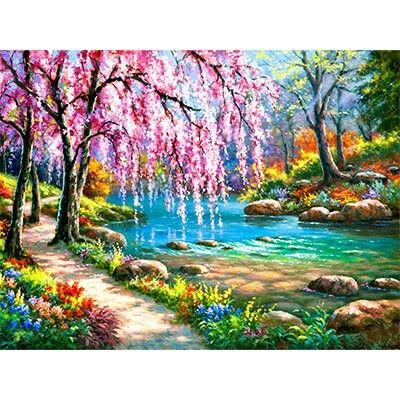 Billige Gemälde, Ölgemälde, Landschaftsbau Mauern, Ölgemälde Auf Leinwand,  Wand Dekor, Zauberwürfel, Sticksets, Romantisch, Glitzer