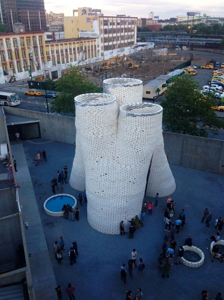 Hy-Fi, by The Living, The Organic Mushroom-Brick Tower Opens At MoMA's PS1 Courtyard
