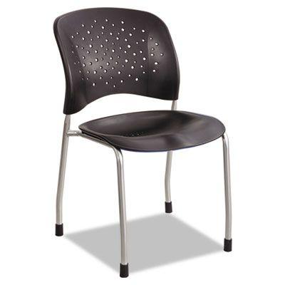rve series guest chair w straight legs black plastic silver steel 2
