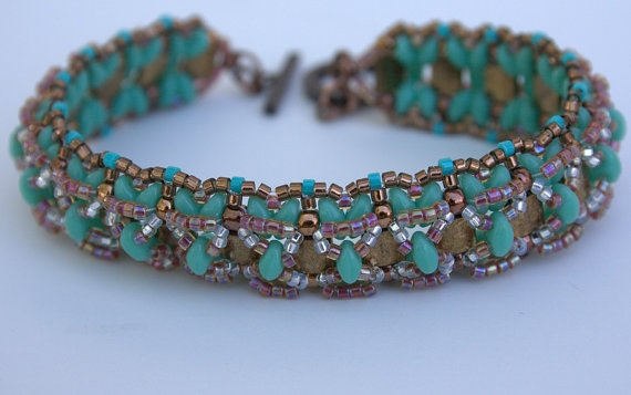Beadwork Handmade Beaded Bracelet made with Tila by TombstoneBeads,