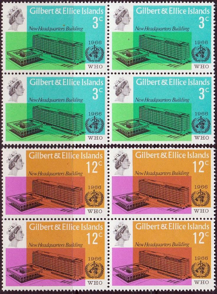 Gilbert and Ellice Islands 1966 World Health Organisation Set Fine Mint SG 127 8 Scott 104 5 Other Gilber6 Ellice Islands Stamps HERE